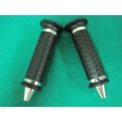 Coppia manopole colore nero con terminali silver