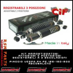 Kit Ammortizzatori Regolabili Vespa Px 125 E Anteriori E Posteriori Carbon Look