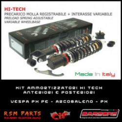 Kit Ammortizzatori Hi Tech Vespa PX 150 E Anteriori Posteriori Carbon Look