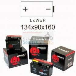 Batteria 134Lx160Hx90P Asaki Cb12A-B 12V 12A Senza Kit Acido