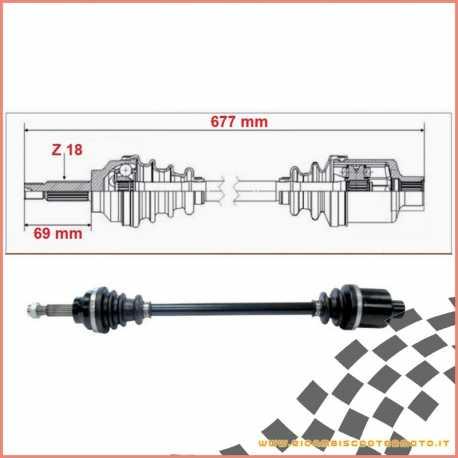 Double joint half shaft complete 677 mm LIGIER