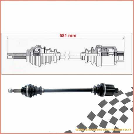 Double joint half axle right complete 581 mm LIGIER NOVA JS50 ITALCAR