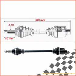 Double joint half shaft complete 670 mm CHATENET CH22 LIGIER XTOO R RS