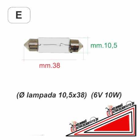Lampadina a siluro diametro 10,5x38 6V 10W Piaggio Vespa