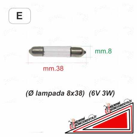 Lampadina siluro diametro 8x38 6v 3W Piaggio Vespa 50 50 Special L R 125 150 GS GL SPRINT